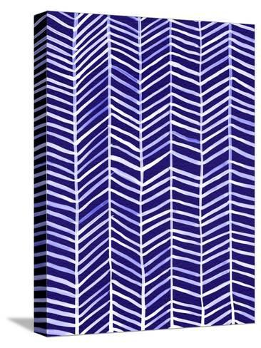 Herringbone - Navy-Cat Coquillette-Stretched Canvas Print