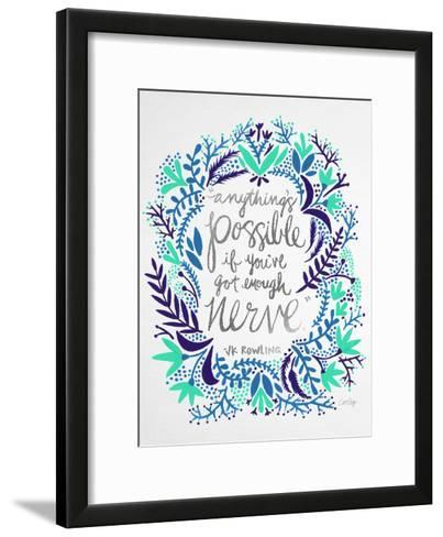 Nerve - Silver and Navy-Cat Coquillette-Framed Art Print