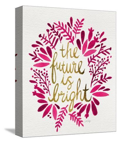 Future is Bright - Pink and Gold-Cat Coquillette-Stretched Canvas Print