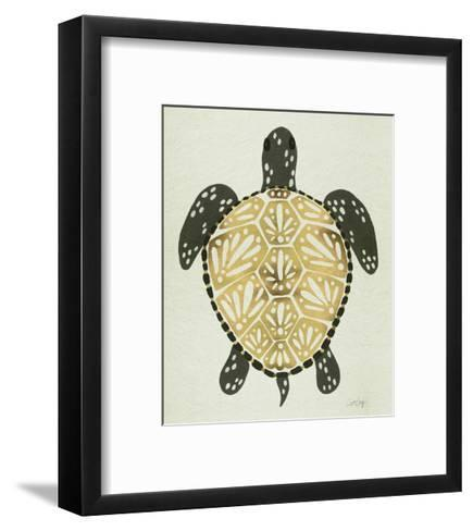 Sea Turtle in Black and Gold-Cat Coquillette-Framed Art Print