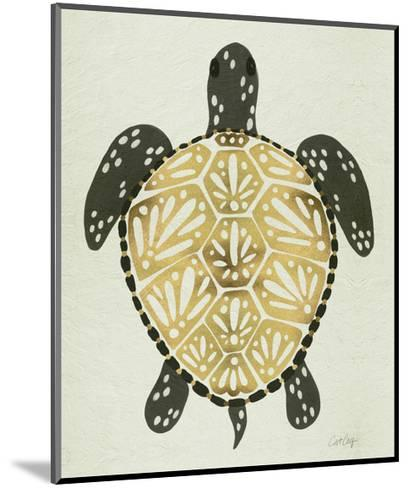 Sea Turtle in Black and Gold-Cat Coquillette-Mounted Giclee Print