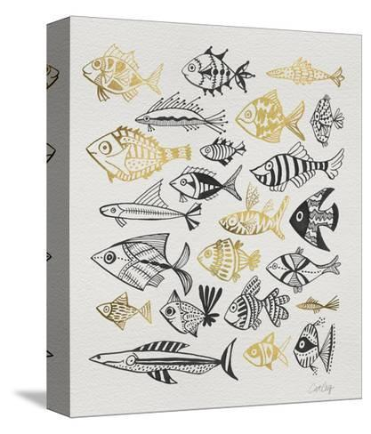 Fish Inklings in Black and Gold Ink-Cat Coquillette-Stretched Canvas Print