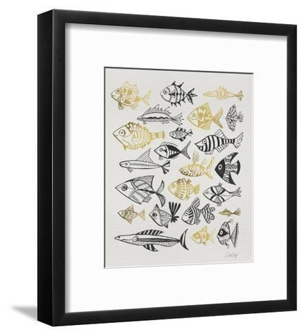 Fish Inklings in Black and Gold Ink-Cat Coquillette-Framed Art Print