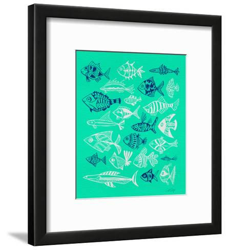 Fish Inklings on Tuquoise-Cat Coquillette-Framed Art Print