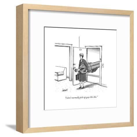 """""""I don't normally pick up guys like this."""" - New Yorker Cartoon-Tom Cheney-Framed Art Print"""