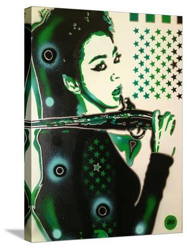 Asia Green-Abstract Graffiti-Stretched Canvas Print