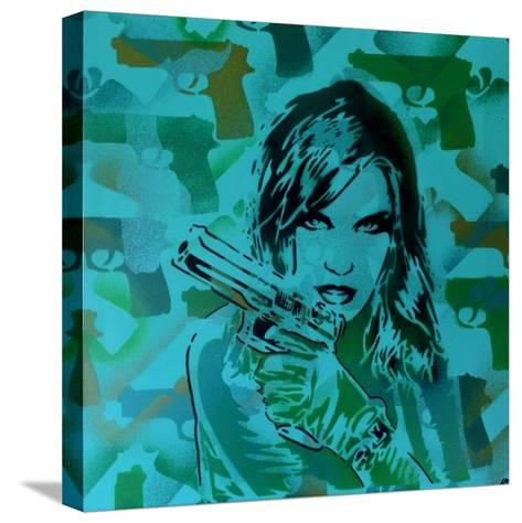 Revolver Greens-Abstract Graffiti-Stretched Canvas Print