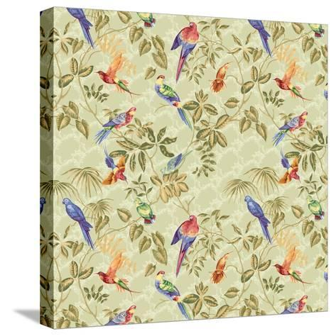 Aviary Small Scroll Sage-Bill Jackson-Stretched Canvas Print