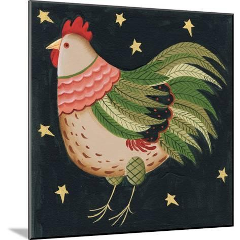 Rooster with Stars in Background Bordered-Beverly Johnston-Mounted Giclee Print