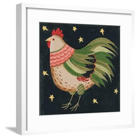 Rooster with Stars in Background Bordered-Beverly Johnston-Framed Art Print