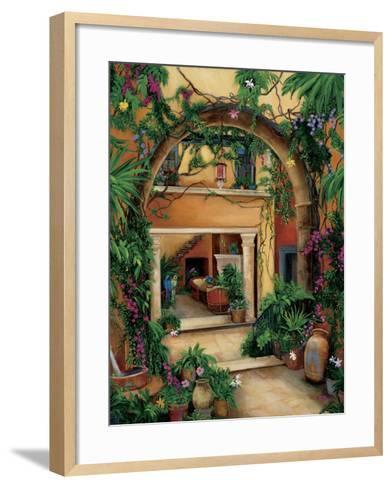 Hacienda Courtyard-Betty Lou-Framed Art Print