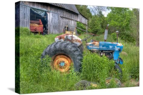 Blue Tractor-Bob Rouse-Stretched Canvas Print