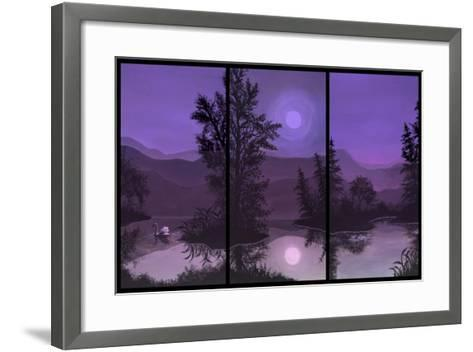 Swan Lake in Pink and Purple-Bonnie B. Cook-Framed Art Print