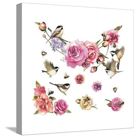Flowers and Birds--Stretched Canvas Print