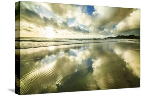 Kailua Beach Gold Streaks-Cameron Brooks-Stretched Canvas Print
