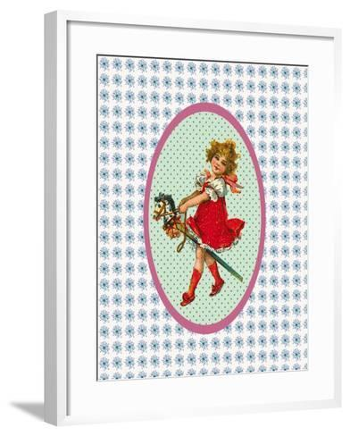 Vintage Christmas Girl with Hobby Horse-Effie Zafiropoulou-Framed Art Print