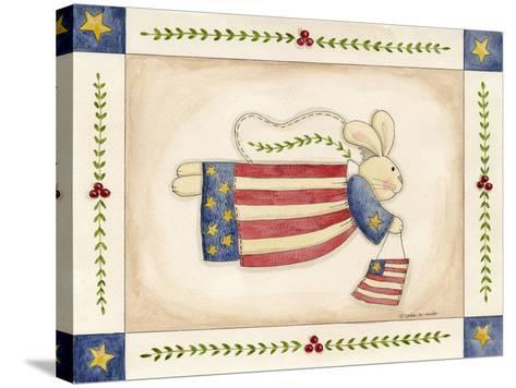 Patriotic Bunny Angel with Flag-Debbie McMaster-Stretched Canvas Print