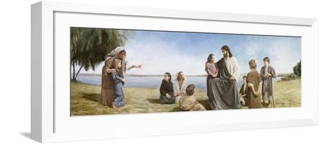 Jesus with Children-David Lindsley-Framed Art Print