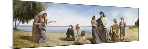Jesus with Children-David Lindsley-Mounted Giclee Print