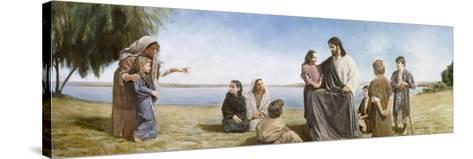 Jesus with Children-David Lindsley-Stretched Canvas Print