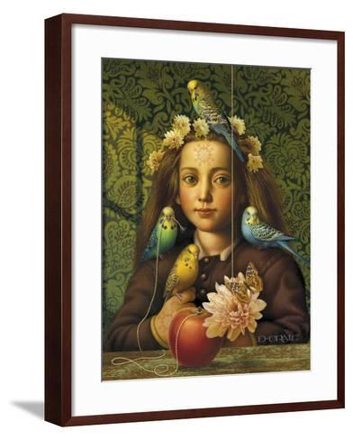 Girl with Parakeets-Dan Craig-Framed Art Print
