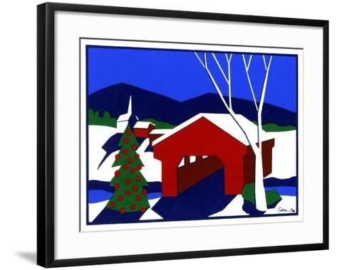 Decorated Christmas Tree Next to Covered Bridge-Crockett Collection-Framed Art Print