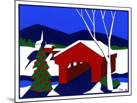 Decorated Christmas Tree Next to Covered Bridge-Crockett Collection-Mounted Giclee Print