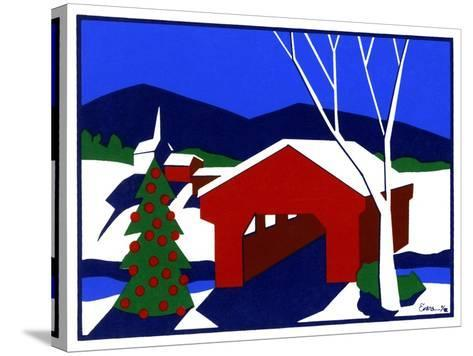Decorated Christmas Tree Next to Covered Bridge-Crockett Collection-Stretched Canvas Print