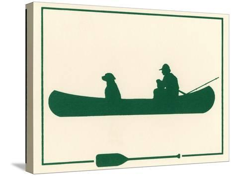 Man and Dog in Canoe-Crockett Collection-Stretched Canvas Print