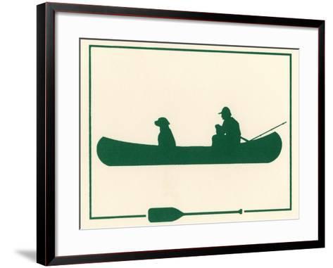 Man and Dog in Canoe-Crockett Collection-Framed Art Print