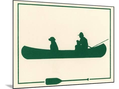 Man and Dog in Canoe-Crockett Collection-Mounted Giclee Print