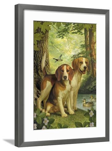 Beagles and Duck-Dan Craig-Framed Art Print