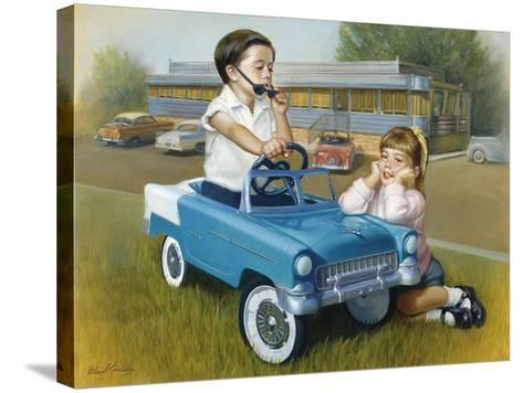 Little Boy in Toy Car with Girl Leaning on it Outside Old Fashioned Diner-David Lindsley-Stretched Canvas Print