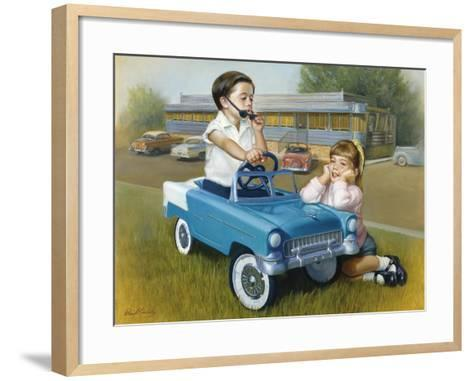 Little Boy in Toy Car with Girl Leaning on it Outside Old Fashioned Diner-David Lindsley-Framed Art Print