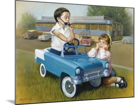Little Boy in Toy Car with Girl Leaning on it Outside Old Fashioned Diner-David Lindsley-Mounted Giclee Print