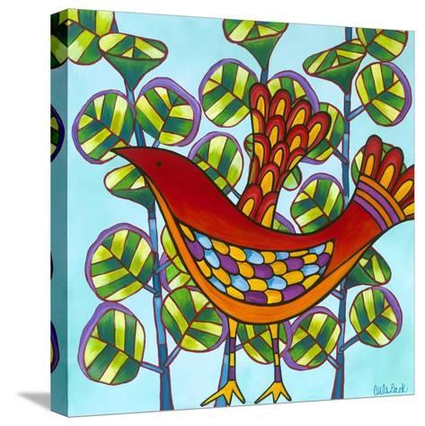 Red Bird-Carla Bank-Stretched Canvas Print