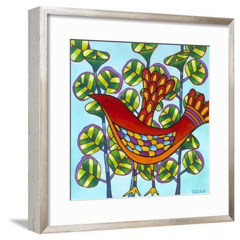 Red Bird-Carla Bank-Framed Art Print