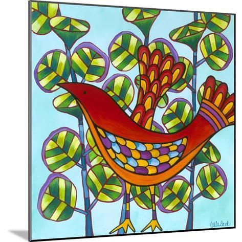 Red Bird-Carla Bank-Mounted Giclee Print