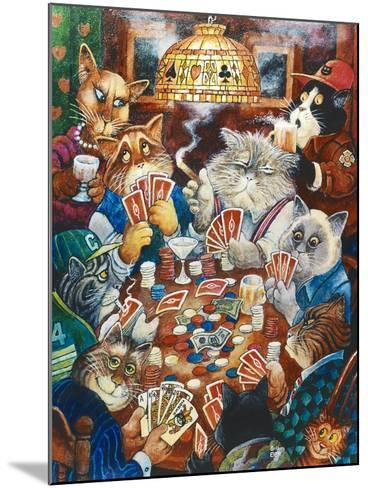 Poker Cats-Bill Bell-Mounted Giclee Print