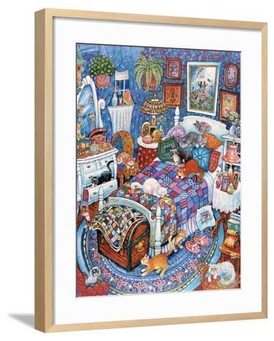 Blue Bedroom Cats-Bill Bell-Framed Art Print