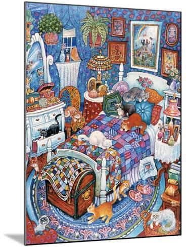 Blue Bedroom Cats-Bill Bell-Mounted Giclee Print