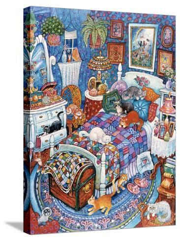Blue Bedroom Cats-Bill Bell-Stretched Canvas Print