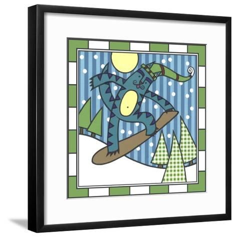 Max Cat Snowboard 1-Denny Driver-Framed Art Print