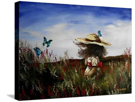 Heather with Butterflies-Cherie Roe Dirksen-Stretched Canvas Print