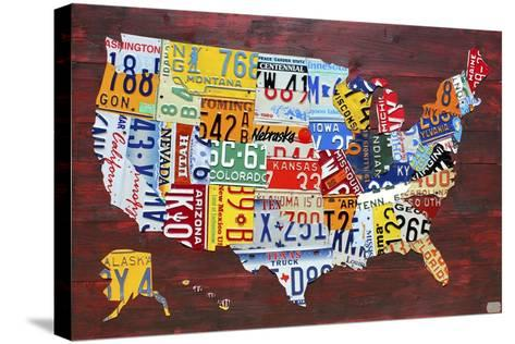 USA Map Edition 15-Design Turnpike-Stretched Canvas Print