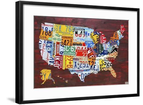 USA Map Edition 15-Design Turnpike-Framed Art Print