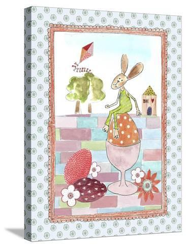 Easter Bunny on Egg-Effie Zafiropoulou-Stretched Canvas Print