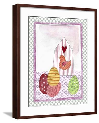 Easter Birdhouse and Eggs-Effie Zafiropoulou-Framed Art Print