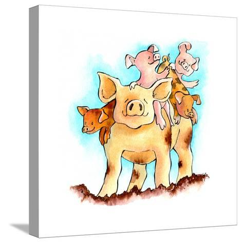 Piggy Back-Emma Graham-Stretched Canvas Print