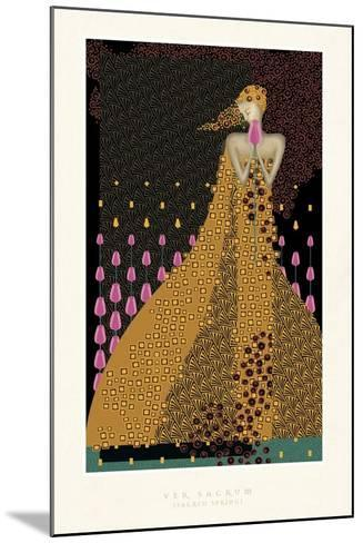 Lady and Tulips-FS Studio-Mounted Giclee Print